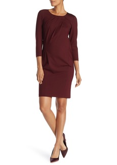 Lafayette 148 Pleat Neck 3/4 Sleeve Sheath Dress