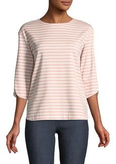 Lafayette 148 3/4-Sleeve Striped Jersey Tee