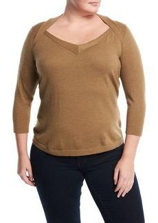 Lafayette 148 3/4-Sleeve V-Neck Sweater