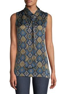 Lafayette 148 Abbie Aztec Artistry Silk Blouse w/ Self-Tie Neck