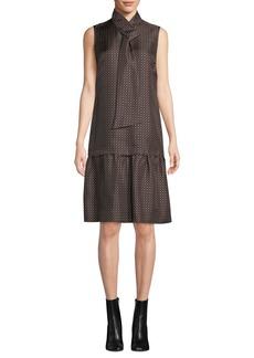 Lafayette 148 Abbie Silk Foulard Tie-Neck Sleeveless A-Line Dress