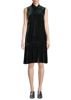 Lafayette 148 Abbie Tie-Neck Sleeveless Velvet A-Line Dress