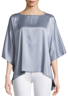 Lafayette 148 Abbot Dolman-Sleeve Artistry Silk Blouse