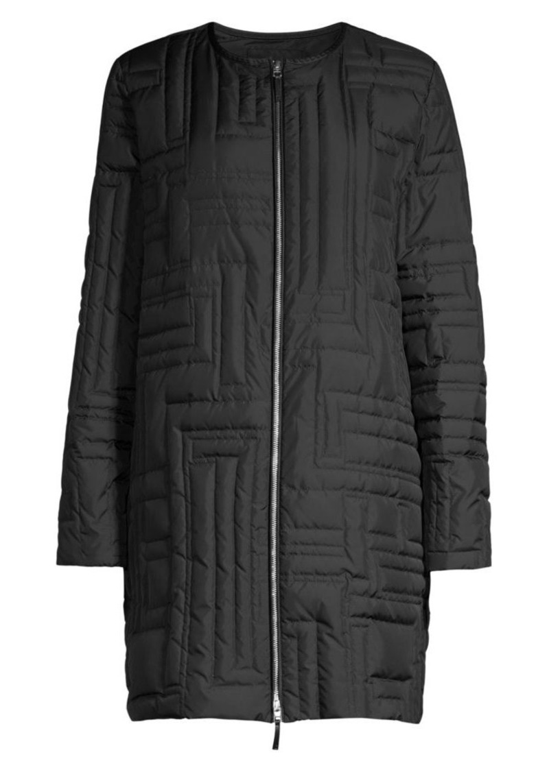 Lafayette 148 Abdulla Geometric Quilted Mid-Length Coat