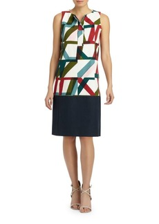 Lafayette 148 Abstract Geo Print Shift Dress