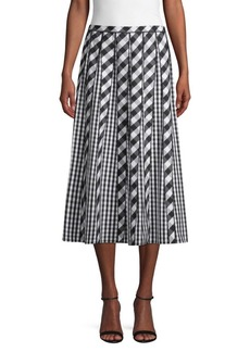 Lafayette 148 Adalia Check Pleated Skirt