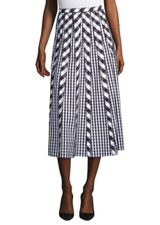 Lafayette 148 Adalia Check Pleated Skirt