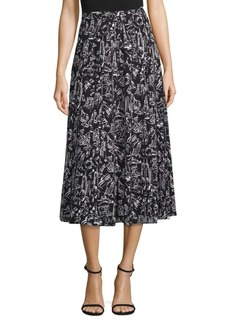 Lafayette 148 Adalia Graphic Silk Midi Skirt