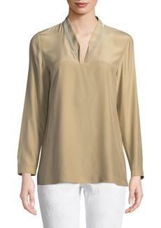 Lafayette 148 Adri Long-Sleeve Matte Silk Blouse