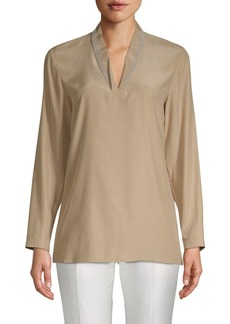 Lafayette 148 Adri Long-Sleeve Silk Blouse