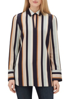 Lafayette 148 Agatha Modern Stripe Long-Sleeve Blouse with Chain Detail