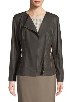 Lafayette 148 Aimes Asymmetric Leather Jacket W/ Ponte Combo
