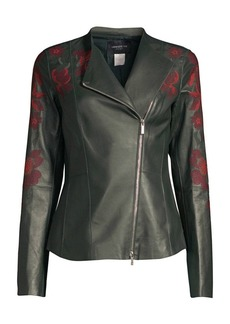 Lafayette 148 Aimes Embroidered Leather Moto Jacket