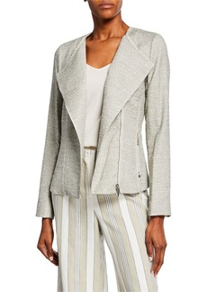 Lafayette 148 Aimes Tweed Asymmetric-Zip Jacket