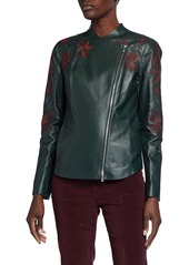 Lafayette 148 Aimes Zip-Front Floral-Embroidered Lambskin Leather Jacket