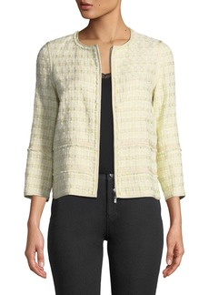 Lafayette 148 Aisha 3/4-Sleeve Cloud Tweed Jacket