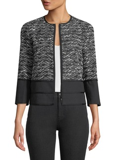 Lafayette 148 Aisha 3/4-Sleeve Zip-Front Tweed Jacket