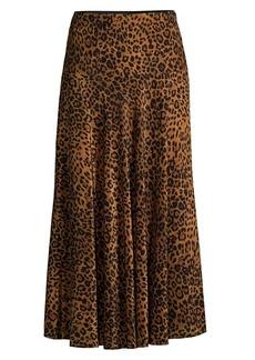 Lafayette 148 Alba Leopard-Print Silk Skirt