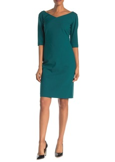 Lafayette 148 Alexia V-Neck Wool Blend Sheath Dress