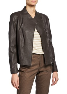 Lafayette 148 Alice Leather Jacket w/ Knit Panels