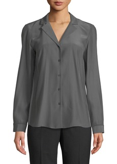 Alicia Silk-Front Button-Front Blouse