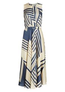 Lafayette 148 Amalia Eclipse-Print Belted A-Line Dress