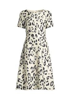 Lafayette 148 Amanda Print Silk Short-Sleeve Flare Dress