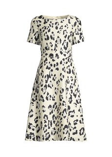 Lafayette 148 Amanda Print Silk Short-Sleeve Flare Dress