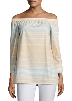 Lafayette 148 Amy Striped Off-the-Shoulder Cotton Blouse  Multi