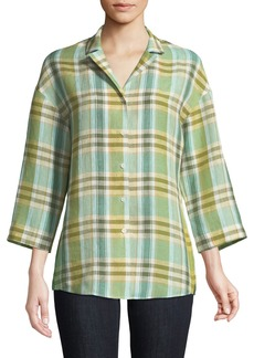 Lafayette 148 Analeigh 3/4-Sleeve Plaid Blouse