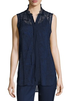 Lafayette 148 Annetta Sleeveless Tie-Neck Lace Blouse
