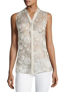 Annetta Sleeveless Tie-Neck Lace Blouse