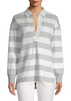 Lafayette 148 Antonia Striped High-Low Collared Shirt