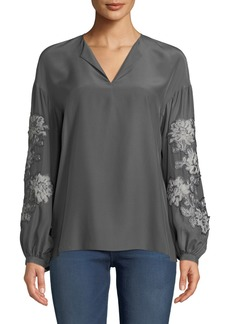 Lafayette 148 Aquila Split-Neck Embroidered Sleeve Matte Silk Blouse