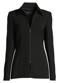 Lafayette 148 Aretha Zip-Front Crepe Jacket
