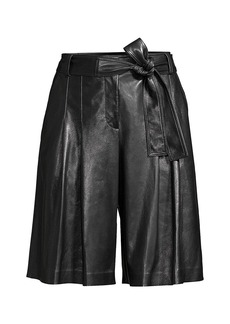Lafayette 148 Arthur Pleated Leather Shorts