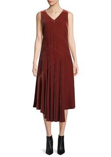 Lafayette 148 Ashlena V-Neck Sleeveless Asymmetric Draped Velvet Midi Dress