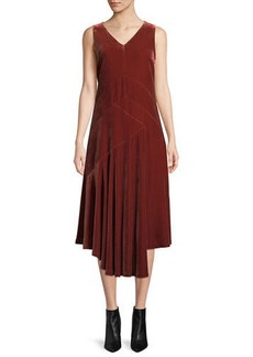 Lafayette 148 Ashlena V-Neck Sleeveless Asymmetric Draped Velvet Midi Dress