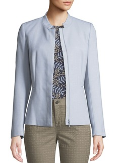 Lafayette 148 Ashton Crepe Jacket with Stand Collar
