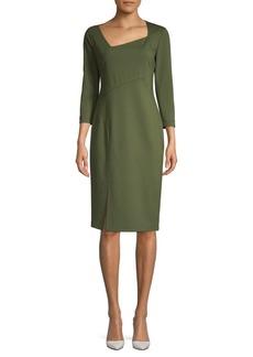 Lafayette 148 Asymmetrical Neckline Sheath Dress