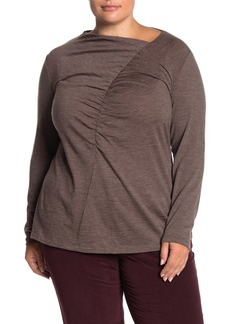 Lafayette 148 Asymmetrical Ruched Wool Blend Long Sleeve Top (Plus Size)