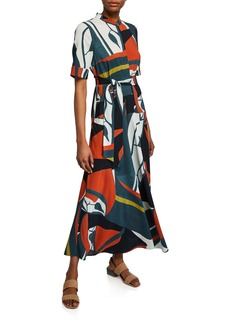 Lafayette 148 Augustina Artisan Abstract-Printed Short-Sleeve Crepe Dress