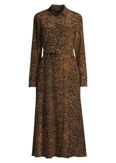 Lafayette 148 Augustina Leopard-Print Silk Dress