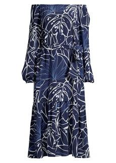 Lafayette 148 Aurora Off-The-Shoulder Silk Dress
