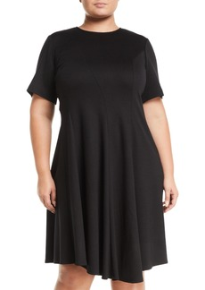 Lafayette 148 Aveena Short-Sleeve Wool Fit-&-Flare Dress