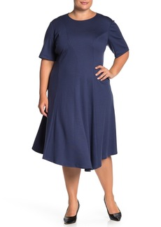 Lafayette 148 Aveena Wool Fit & Flare Ponte Dress (Plus Size)