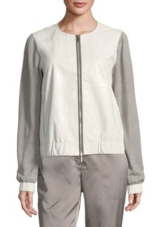 Lafayette 148 Aviana Leather Knit Jacket