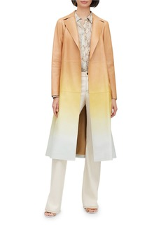 Lafayette 148 Avrielle Ombre Lambskin Leather Trench Coat