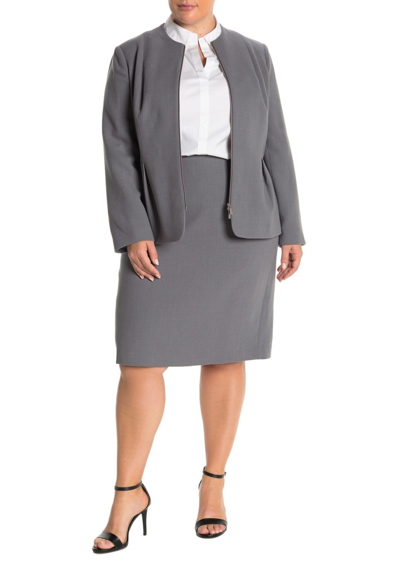 Lafayette 148 Back Vent Wool Pencil Skirt (Plus Size)