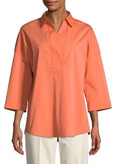 Lafayette 148 Baldwin 3/4-Sleeve Cotton-Stretch Blouse